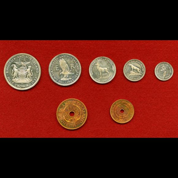 1 set of 7 coins EF+ Mongolian coin set