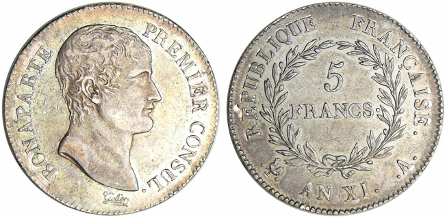 ナポレオン5フラン銀貨第一執政官