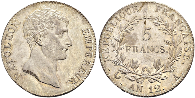 ナポレオン5フラン銀貨共和国皇帝