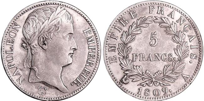 ナポレオン5フラン銀貨帝国皇帝